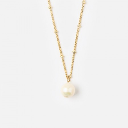 Orelia Single Pearl Satellite Necklace - Gull