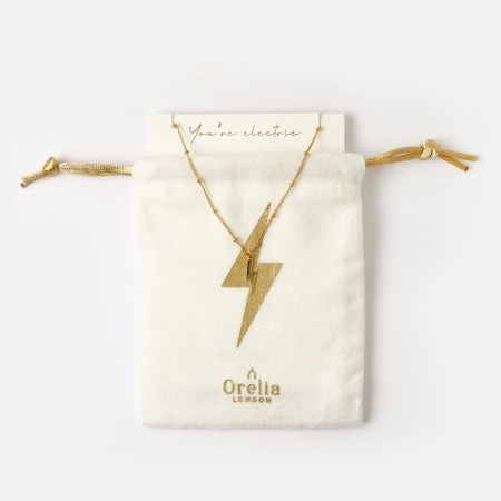 Orelia Electric Lightning Necklace Gift Pouch - Gull