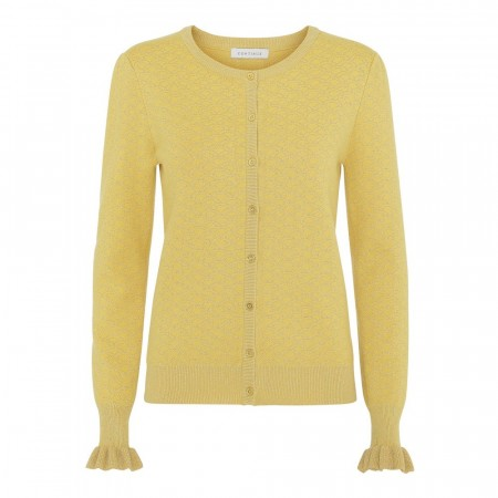 Continue Claire Lurex Knit Cardigan, Gul