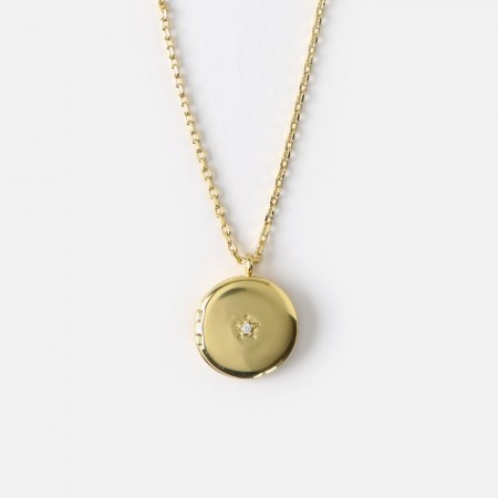 Orelia Mini Round Locket Necklace - Gull