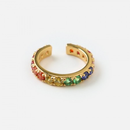 Orelia Rainbow Pave Single Ear Cuff - Gull